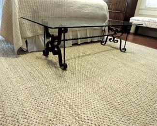 GLASS TOP COFFEE TABLE WITH WROUGHT IRON BASE