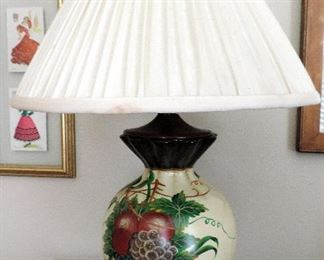 LAMP WITH FRUIT PAINTING ON BASE