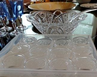 CRYSTAL PUNCH BOWL AND CUPS