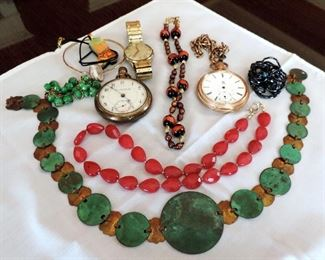 VINTAGE JEWELRY AND POCKET WATCHES