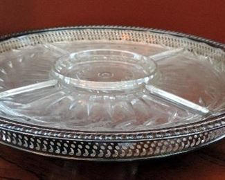 SILVERPLATE PLATTER WITH GLASS INSERTS
