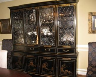 Large black enamel Chinoiserie china cabinet