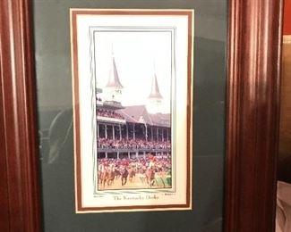 Nice framed Kentucky Derby print