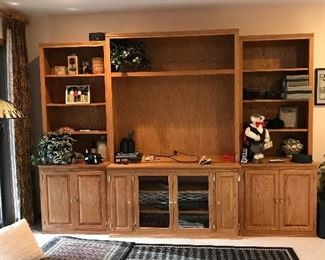 Beautiful hand made solid oak console and detachable bookcases.
