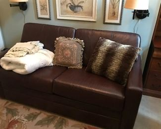 Leather pullout sofa