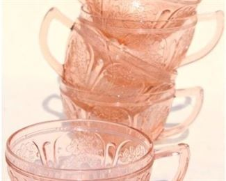 cherry blossom pink depression glass, many pieces