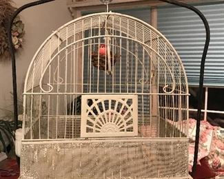 Vintage Crown birdcage and stand