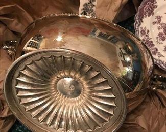 Barker Ellis silverplate footed bowl, menorah stamped