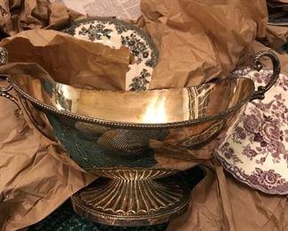 Barker Ellis silver footed bowl, menorah marked