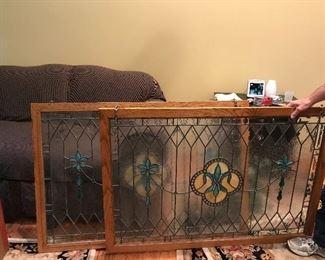 Custom made Fleur de Lis stained glass windows.