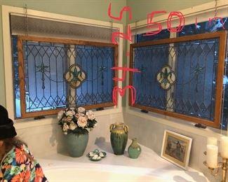 Custom made Fleur de Lis stained glass windows