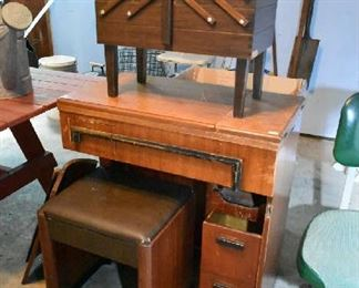 SEWING TABLE W/BENCH, SEWING BOX
