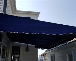 Navy & white canvas awning