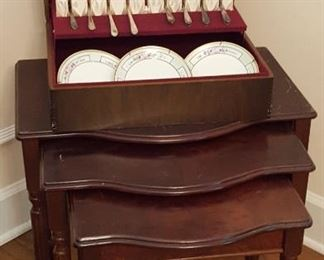 Stacking tables and flatware chest