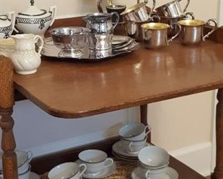 Oak drop leaf tea cart