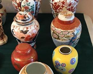 Imari vase and jars