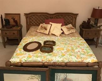 Full size oak bed and pr of bedside tables