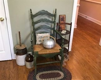 Pottery churn, rush seat chair, and muffin stand