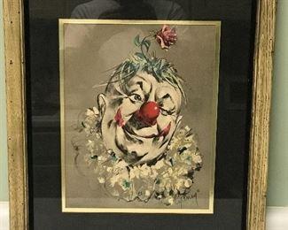 Signed vintage clown print