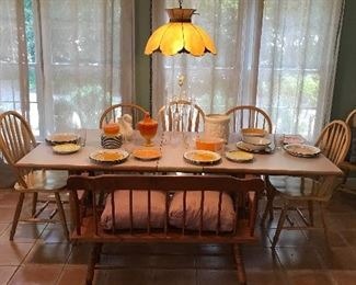 Bamboo table, bentwood back chairs, and bench