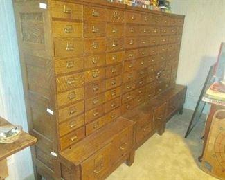 Oak card catalogue cabinet
