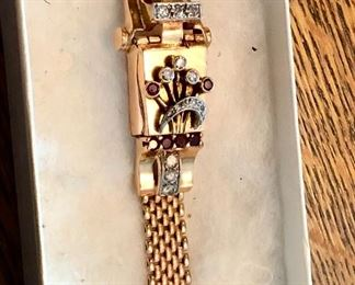 Drop dead gorgeous 14k ROSE GOLD ART DECO WATCH WITH INTEGRAL 14k band. DIAMONDS RUBIES OH MY!