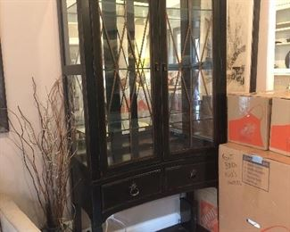 Traditional Black Breakfront China Cabinet