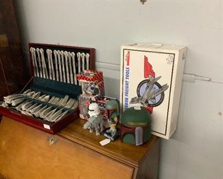 Toy collectibles and set of silver