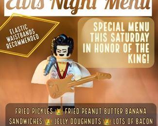 Elvis memo on tap Elvis food read menu
