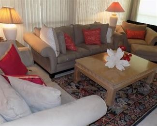 ultra suede sofa, loveseat, chair and ottoman