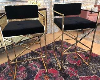 velvet and brass bar or salon stools