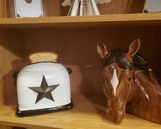 These are cookie jars, believe it or not.  I love the horse one.  But I love horses.  Actually I love all animals.  This will wind up next to your head in bed if you dont buy it.  What movie is that from???