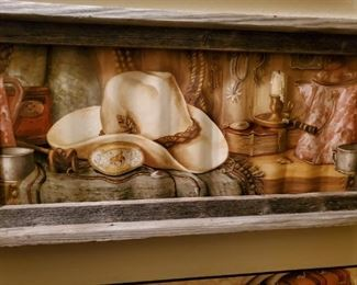 Picture painted on wavy Tin.  It's Cool