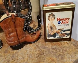 Wine Holders and Hungry Jack Tin.  Where is Hungry Jill?  Girl needs a biscuit too.  You gotta risk it to get the biscuit