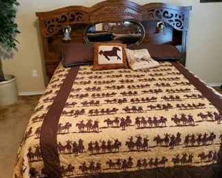 Cool Bed with Lights on the headboard. New mattress.  Beautiful Bedding Sold separately.