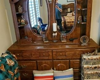 Dresser with 2 mirrors...and my reflection....sexy little devil ain't I?