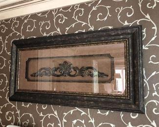 Framed iron artwork