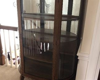 Antique Curved Glass Curio Cabinet
