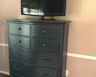 Restoration Hardware tall chest of drawers and TV