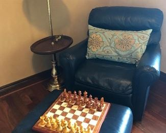 Leather chair and ottoman, floor lamp and chess set