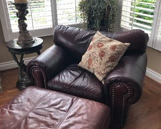Leather chair and ottoman, side table