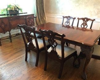 Dining table with side chairs - 2 additional leaves with pads and sideboard - antique