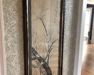 Large Asian framed silk