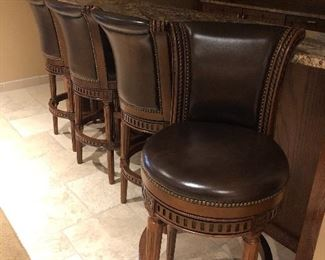 Leather bar stools - 4