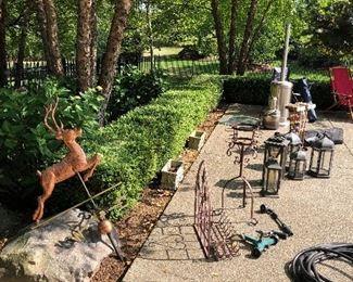 Copper weathervane, patio heater, patio lanterns