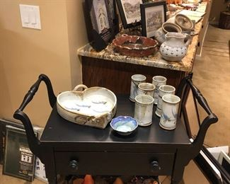 Pottery, picture frames, mirrors and handled side table/bar cart
