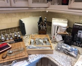 Flatware, knives, Krups coffee maker - new, cutting boards and more