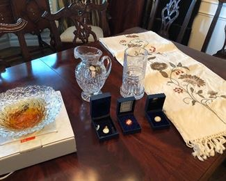 Waterford vase and wine holder, blown glass bowl, table runners and linens available