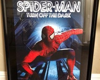Broadway poster of Spiderman autographed by the cast.