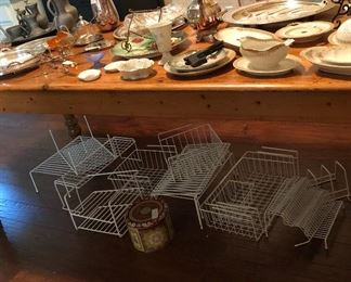 Beautiful pine dining table with handpainted plates, organizers, pewter, silverplate.